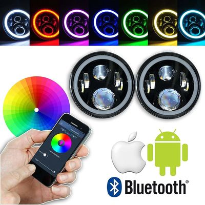 Çin 7 Inch Round RGB LED Headlights Bluetooth Phone APP Control High Low Beam Tedarikçi